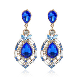 Wholesale Rhinestone Fashion Jewelry Earrings - 2017 Cheap Wedding Accessories Fashion Rhinestone Jewelry Diamond Bridal Earrings In Stock Free Shipping Green Blue