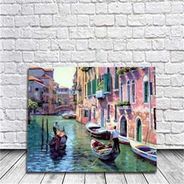 Wholesale Venice Landscape Paintings - Framed Venice DIY Painting By Numbers Drawing By Painting Kits Painting Hand Painted On Canvas For Home Wall Art Picture Living Room Decor