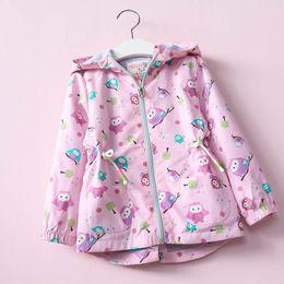 Wholesale Kids Wholesale Outerwear - Everweekend New Baby Girls Jackets Coats Cartoon Owl Birds Trees Print Hooded Windbreaker Toddler Girls Kids Jacket Outerwear