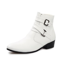 Wholesale Types Male Shoes - Summer Korea Type Male Leisure Short Boots High Side Thicken Cotton Increased Pointed Men Ankle Boots Leather Shoes 39-44