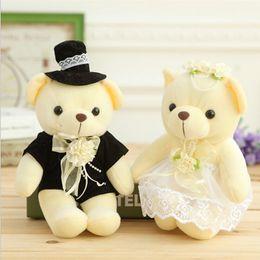 Wholesale Bride Groom Dolls Plush - Wholesale- 2 pcs lot 15cm Kawaii 1Pair NEW Wedding Gift Bride & Groom Bear Bouquet DOLL TOY ; Plush Stuffed TOY Soft Figure DOLL TOY