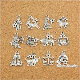 Großhandel sternzeichen armbänder online-Großhandels-120 PC Weinlese-Charme-Tierkreis zwölf Konstellationen unterzeichnen hängende antike silberne passende Armband-Halskette DIY Metallschmucksachen