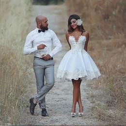 Wholesale Size 16 Informal Wedding Dress - 2017 Short Ball Gown Wedding Dress Knee Length Applique Informal Wedding Gowns Lace Vestido De Novia Vintage Brazil Bride Reception Dresses