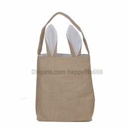 Wholesale Cotton Festival - New 14 styles Easter Bunny Ear Bags DIY Embroider Cotton Linen Basket Bag Easter Gift Packing Handbags For Children Festival Bag EHB01