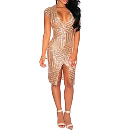 Wholesale Knee Length Tights For Women - Fashion women sequin dress fall in short sleeves tight evening dress club wear deep v neck dress party dresses clubwear for women