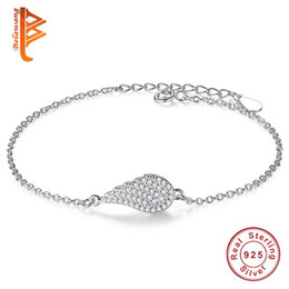Wholesale Wings Bangles - BELAWANG Women Romantic Bracelets 925 Sterling Silver Angle Wing Treatment Charm Bracelet Bangles Crystal Link Chain For Valentine's Day