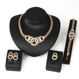 Wholesale Costume Big Necklace Sets - New Brand Exaggerated Big Choker Trendy Round Shape Necklace Bracelet Earring Ring Set Party Costume Jewelry N199