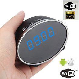 Wholesale Wireless Infrared Spy Cameras - Wifi 1080P Panda Digital Alarm Clock Hidden Spy IP Camera Motion Detection Clock Spy DVR 5.0M Pixels Mini Clock Hidden Cam Free Shipping