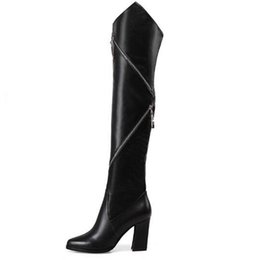Wholesale Tall Rainboots - Luxury brand women genuine leather knee boots ladies black high heel tall boots girl cowskin side zipper knight boots free shipping