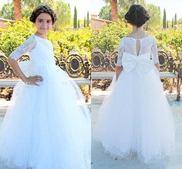 Wholesale First Knot - 2017 Princess White Lace Flower Girls Dresses with Bow Knot Tulle Half Long Sleeves First Communion Pageant Gowns Girl Dress For Weddings