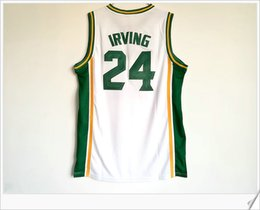 Wholesale Mens School - College Stitched Embroidery St. Patrick High School #24 Kyrie Irving Vintage basketball Uniforms Shirts Vest Throwback Mens Sports Jerseys