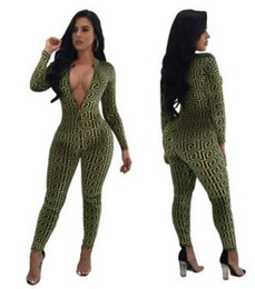 Wholesale Green Rompers - Autumn winter printing deep V long-sleeved jumpsuit Slim casual pants rompers casual women clothing Sexy Club Wear Bodysuit bodycon jumpsuit