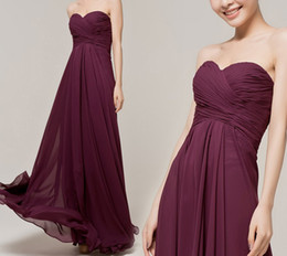 Wholesale Plum Chiffon Dress - robe de soiree 2017 Cheap Simple Long Bridesmaid Dresses Plum Purple Floor Length Chiffon Maid Of Honor Gown Empire Custom Make