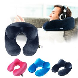 Wholesale U Shaped Airplane Pillow - Wholesale- U-Shape Travel Pillow for Airplane Inflatable Neck Pillow Travel Accessories Comfortable Pillows for Sleep Home Textile 3 Colors