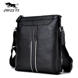 Wholesale Men S Casual Shoulder Bag - Nice- CROSS OX Vogue Black Shoulder Bags For Men Genuine Leather Messenger Bag Mens Handbag Casual Bag Buckskin Pattern SL2