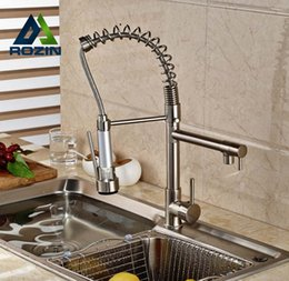Wholesale Brushed Nickle - Wholesale- Rozin Brushed Nickel Dual Swivel Spout Kitchen Sink Faucet Pull Down Spring Spray Bathroom Kitchen Mixer Tap Deck Mounted