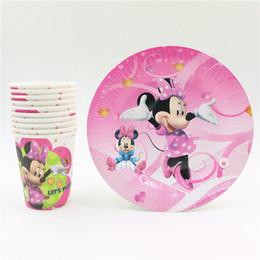 Wholesale Disposable Paper Glass - Wholesale- minnie mouse cartoon kids girls birthday decorations party set disposable paper plates +paper cups glass party supplies 20pcs