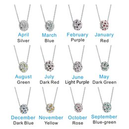 Wholesale Cluster Stone Necklace - 12 birthday stone silver necklace ladies factory direct jewelry wholesale independent packaging transport Birthstone Pendant Necklaces