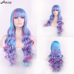 Wholesale Wig Long Pink Curly - 80CM Long Curly Wavy Harajuku Cosplay Wig Anime Blue Pink Synthetic Wig For Women Party Wigs Heat Resistent Peruca Pelucas Cosplay women's p