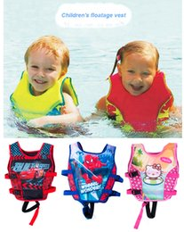 Wholesale Children Cooling Vest - Wholesale- 5-10 Years Child Swim Vest Kids Swimming Learning Jacket Ring Life Jacket Cartoon Floatable Swimwear Boy Girl Cool Rafting Vest