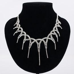 Wholesale Layered Crystal Necklaces - Layered Rhinestone choker Maxi Statement Necklace 2017 Big sparkly choker Fashion jewelry Trendy Chocker for women free shipping