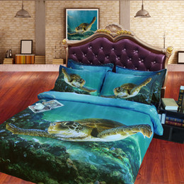 Wholesale Hd Twin - Wholesale- JF-079 Digital Print HD Tencel sheets Cal king 3D Sea Turtle quilt cover set twin full size bed set queen bedding sets tortoise