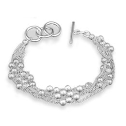 Wholesale Shiny Silver Plated Beads - Shiny Silver Matte Beads Bracelet With Link Chain Smooth Ball Bracelets & Bangles Fashion Wedding Toggle Button Jewelry with Box