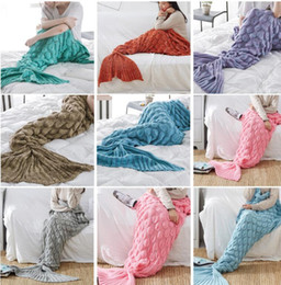 Wholesale Gift Wrapping Bags Wholesale - Mermaid Tail Sofa Blanket Soft Crocheted Knitted Sleeping Bag Bed Mermaid Wrap Air Conditioning Christmas Gifts blanket 60*140cm KKA2772