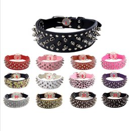 Wholesale Studded Leather Small Dog Collar - Punk Style fashion 2017 Dog Spikes Neck Nail Bullet Rivet Studded Collar Neck Strap From Pitbull Collar PU Leather Pet Products