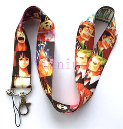 Wholesale Camera Strap Design - Free Shipping 30 Pcs Multicolor Design Anime ONE PIECE Key Chains Mobile Phone Neck Straps Neck Strap Keys Camera ID Card Lanyard