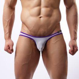 Wholesale Thin Silk Panties - Sexy Men Underwear Briefs Ice Silk Comfortable See Through Ultra-thin Nylon Panties Breathable Casual Homme Men Briefs Underwear