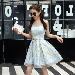 Wholesale Teen Sexy Dress - 2017 New Short Prom Dresses Sheer Neck Lace Flowers Fashion Cocktail Party Dress Gowns Teens Homecoming Dress Graduation Dress For 8th Grade