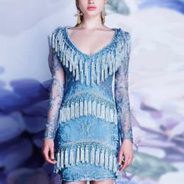 Wholesale Short Tight Wedding Dresses - 2017 fashion show big brand new blue tassel transarent long sleeve tight zipper short skirt beautiful women dating dress wedding sexy dress