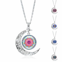 Wholesale Necklace Half Moon - Free shipping Bursts of mandala flower gemstone necklace silver half moon pendant jewelry WFN197 (with chain) mix order 20 pieces a lot
