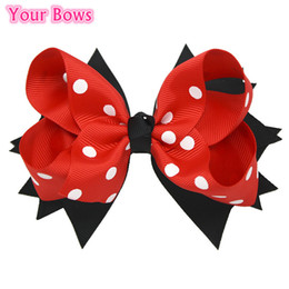 Wholesale Stacked Boutique Hair Bows - Wholesale- 1PC 5 Inches Big Polka Dots Hair Bows Navy Blue Red Toddler Stacked Boutique Baby Bows Hair Clips For Girls Hair Accessories