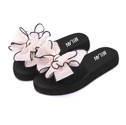 Wholesale Bowtie Sandals - 2017 Bow Thong Jelly Beach Shoes Woman Jelly Flip Flops Women Sandals Ladies Flat Slippers Zapatos Mujer Sapatos Femininos
