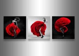 Arbre blanc toile art mural en Ligne-Livraison gratuite noir blanc et rouge arbre moderne Wall Art peinture à l'huile Home Decor Picture Print sur toile 3pcs / set encadré