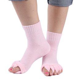 Wholesale Open Toe Socks Women - Wholesale-1 Pair Massage Open Five Toe Separator Socks Foot Alignment Pain Relief Hot Socks New Design