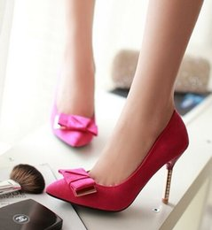 Wholesale Hot Pink Glitter Heels - Wholesale New Arrival Hot Sale Specials Sweet Girl Good Quality Sexy Elegant Suede Pointed Bow Large Size Noble Custom Heels Shoes EU34-39