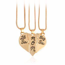 """Подвеска для материнской дочери онлайн-3шт/комплект надпись """"сестренка мама старшая сестра"""" Любовь сердца кулон ожерелье простой подарок для матери и дочери семья ювелирные изделия"""