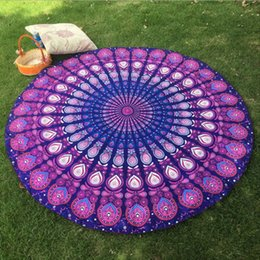 Wholesale Peacock Bikini - Beach Towel Blankets Polyester Peacock Pattern Towels Bikini Cover Beachwear Beach Sarongs Shawl Bath Yoga Mat Wear Round