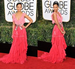 Wholesale Dress Zoe - Two Tone Ruffled Coral Chiffon V Neck Prom Dress Zoe Saldana Golden Globes 2017 Celebrity Dresses Gowns for Party Cap Sleeves Ruffles Sash