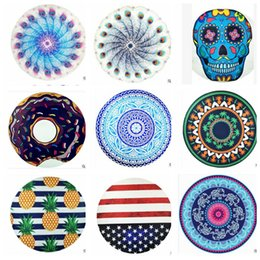 Wholesale 34 design round mandala beach towel pineapple beach towels Mandala Tapestries American flag elephant Bikini Cover up blanket KKA1722