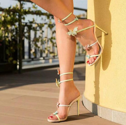 Wholesale Fine Sewing - 2017 Leather high-heeled ankle strap with fine toe after empty Butterfly Pink Wedding Shoes gladiator sandals summer cross stiletto heels