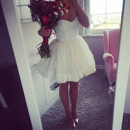 Wholesale Cute Skirts For Summer - Cute Sweetheart Short White Homecoming Dresses Puffy Skirts Ball Mini Cheap Organza Party Dresses for Graduation Cocktail Dress