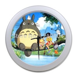 Wholesale Good Ideas - Wholesale-Cute Japanese Cartoon Anime My Neighbor Totoro Wall Clock! 2 border colours optional! Accept Customized! Good GIFT Idea!