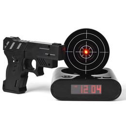 Wholesale Laser Gun Target Clock - Desk Gadget Target Laser Shooting Gun Alarm Clock LCD Screen Gun Alarm Colck Target Alarm Clock