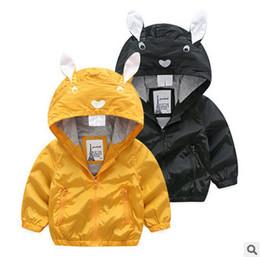 Wholesale Long Jacket Ears - Children jacket baby boys cute rabbit bunny ear long sleeve leisure outwear kids cartoon hooded zipper coat fashion boy autumn clothingT3955