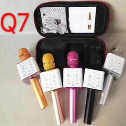 оптовые беспроводные микрофоны для караоке Скидка Q7 портативный микрофон беспроводной KTV с динамиком микрофон Microfono портативный для iphone смартфон портативный караоке-плеер