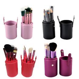 Wholesale Brow Kit Wholesalers - 12 pcs set Professional Makeup Brush Tools Set Leather Barrel Bag Cosmetic Powder Eye Shadow Brow Eyeliner Make Up Brushes Kit 0605005